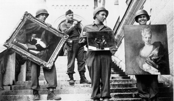 A 1940s photo of G.I.'s recovering stolen loot. Nazi Germany stole what they liked and burned the rest.