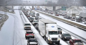 Motorists were stranded on on freeways across the south as the area has again been pummeled by a winter storm.