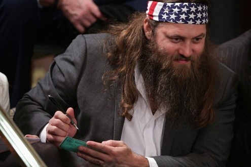 Duck Dynasty star Willie Robertson appeared to be the real star at the State of the Union speech. Movers and shakers muscled their way in for photos with the reality TV star.