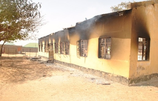 The charred remains of Evangelical Church Winning All in Kankia.