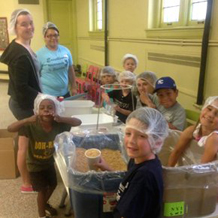 Youth of all ages will participate in the food preparation efforts to help hungry families.