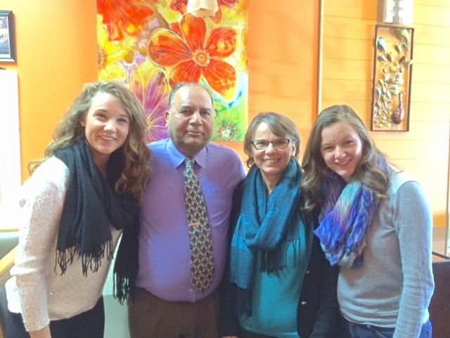 Ram, owner of India Clay Oven, with Emma, Anita and Hannah. It is some of the best Indian specialities we've eaten anywhere in the world.