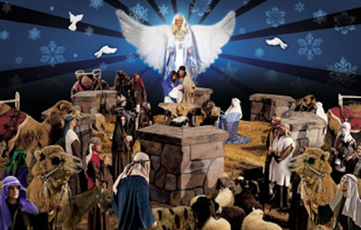Dixie Stampede keeps Christ in Christmas during their arena production----complete with sheep, camels and a donkey!