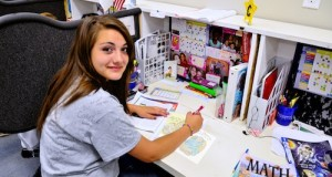 Grace works on her Christmas card at Show-Me Youth Home.