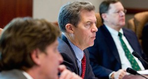 Kansas Governor Sam Brownback meets with economic advisors. Contrary to media reporting, the state's economy is on a robust comeback.