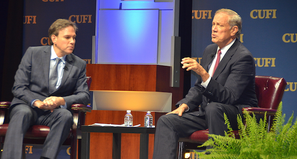 On Monday, Republican presidential candidate and former New York governor George Pataki (right) gives an interview with Bret Stephens of the Wall Street Journal on stage at the Christians United for Israel Washington Summit. Credit: Maxine Dovere.