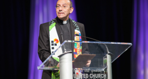 "At the United Church of Christ (UCC) General Synod in Cleveland, Rev. Mitri Raheb (pictured here), a Palestinian Christian and pastor of the Evangelical Lutheran Church in Jordan and the Holy Land, called the UCC's resolution to divest from Israel ""a strong signal that [Palestinians] are not alone, and that there are churches who still dare to speak truth to power and stand with the oppressed."" Credit: United Church of Christ/Flickr."