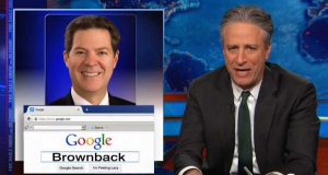 The Daily Show's Jon Stewart continues to heap derision on Kansas governor Brownback for protecting pastors from being forced to perform homosexual weddings.