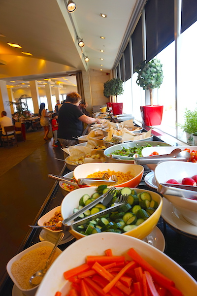 Breakfast at Israeli hotels always mean the largest buffets of fresh food you have ever encountered. At Tel-Aviv's Dan Panorama it is no exception. Most food that Israeli's eat is grown locally with he exception of most beef and grain which require too much land so are imported.