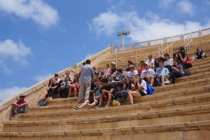 Israeli school kids sit in the amphitheater stands during a field trip to Caesarea. Israel dedicates itself to instructing its children on the history of the land God gave to the Jewish people 5,000 years ago.