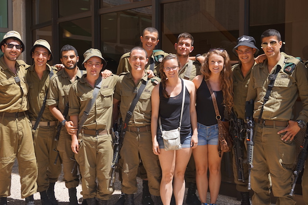 Most all young Israeli men and women serve in the Israeli Defense Forces, or IDF. Here Hannah and Emma did not miss this opportunity for a photo with the lads and the soldiers were only too happy to comply.