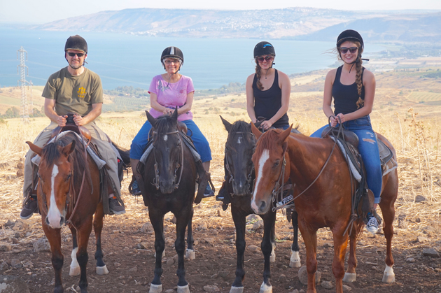 Dwight, Anita, Hannah and Emma during a horseback exploration of the hills surrounding the Sea of Galilee. When planning trips that include young people, schedule in the great outdoors. If traveling in the winter months, you can hit the beach in the morning and go snow skiing in the afternoon. Only in Israel!