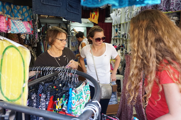 "A visit to the Old City isn't complete with out checking out the ""Shuk""--the ancient market that still mesmerizes visitors today. Anita, Hannah and Emma spent time looking for the perfect dress or lounging pants."