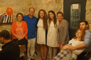 Pictured with our Shabbat host, Sapir who is second from the right. As it turned out, the dinner was also a birthday celebration for one of her friends.