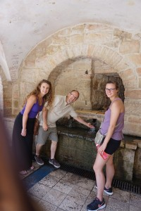 Dwight, Hannah and Emma visit Mary's Well. Today, the spring is still there but made more easily accessible to visitors.