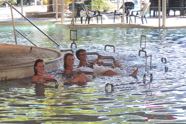 Hamer Gader resort is the home of hot springs that were also popular in Roman times. Here, Anita, Emma and Hannah relax in the soothing mineral steam pool.