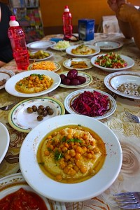 This is fast-food, Israeli style! Farm to table vegetables and fruits along with your favorite hummus and falafel shared family style means lunches are casual and built around conversatation.
