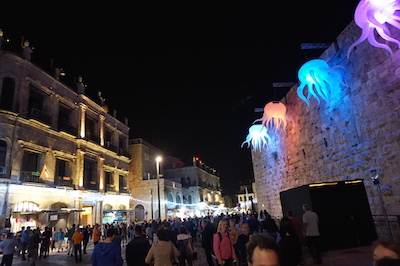 The Old City comes alive with modern art and a light show and draws hundreds of thousands of Israeli's and their families for casual entertainment, food and of course, the spectacular light show at the Citadel Tower.