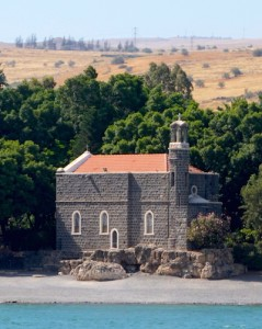 Church of the Primacy of St. Peter sits on the edge of the Galilee.