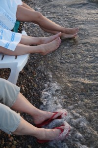After a day of site-seeing, we went to the Galilee's beach at the resort kibbutz and let the cool waters sooth our feet as the lights of cities twinkled on the hillsides in the distance.