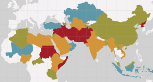 A world map of persecution of Christians shows the greatest threat in North Africa and Asia.