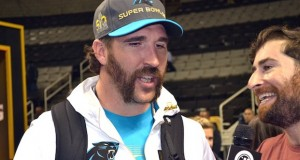 """God's got a plan and I'm kind of along for the ride,"" Jared Allen, a defensive end with the Carolina Panthers, told reporters at the SAP Center in San Jose, Calif., Feb. 1. Photo by Shawn Hendricks/BP"