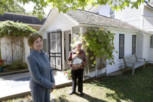 Former First Lady Laura Bush, on a trip to Missouri, made sure to visit the Laura Ingalls Wilder home and museum.