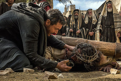 In one scene, Ben-Hur gives Jesus water.