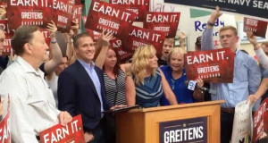 Eric Greitens celebrates with supporters after his victory in the Aug. 2 primary. Photo: Greitens campaign