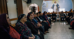 Christian women gather at an Assyrian church in Irbil, Iraq