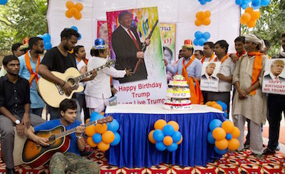 Trump's victory was celebrated in India with a birthday cake.