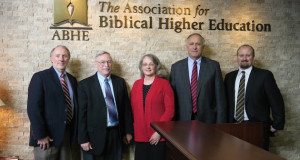Leaders of Kansas Christian College were on hand at the Association for Biblical Higher Education when they passed the initial step for accreditation. Left to right: KCC Board President Rodney Davis, KCC Board Secretary Dwight Purtle, Vice President of Academic Affairs Dorothy Purtle, President Delbert Scott, and Vice President of Operations Chad Pollard.