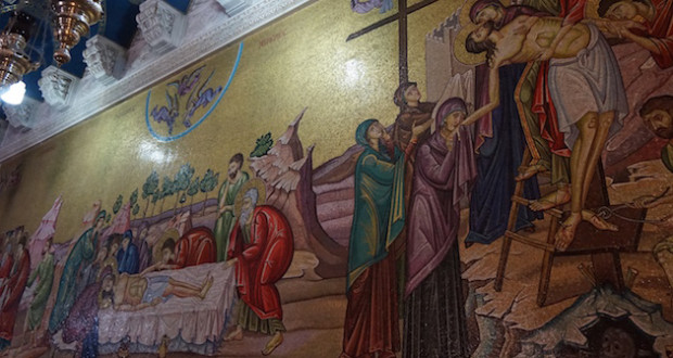 An 800-year-old mural greets visitors inside the church. (Photo: Dwight Widaman)