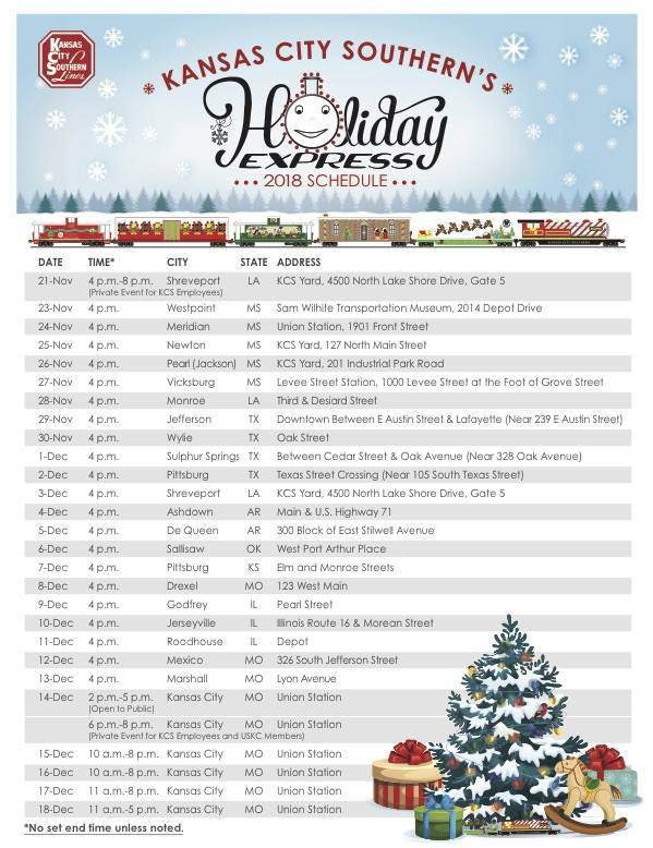Holiday Express Train Schedule  Kansas City
